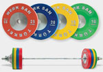 Olympic Weightlifting Equipment: barbells, bumper plates, weightlifting shoes