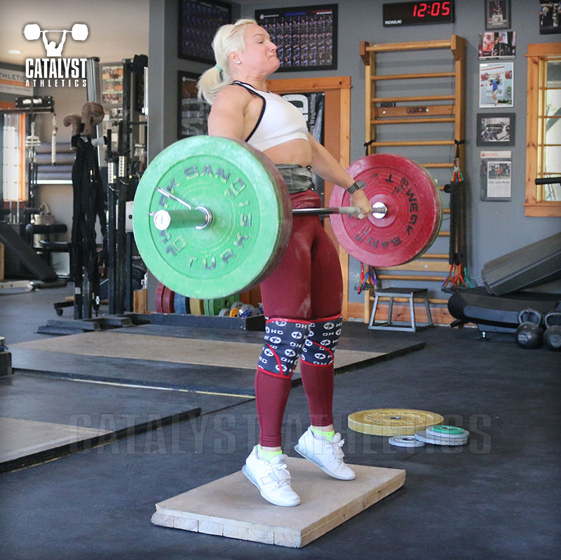 Sarabeth snatch on riser - Olympic Weightlifting, strength, conditioning, fitness, nutrition - Catalyst Athletics