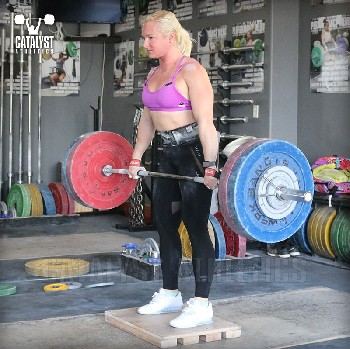 Sarabeth clean deadlift on riser - Olympic Weightlifting, strength, conditioning, fitness, nutrition - Catalyst Athletics